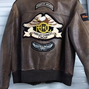 Avirex Vintage Brown leather bomber motorcycle jac